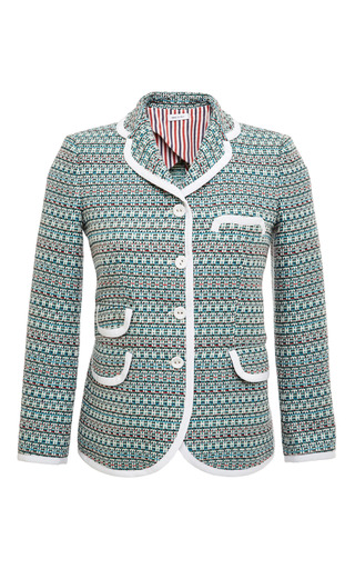 Little boy 4 button in light green melange weave tweed jacquard by THOM BROWNE for Preorder on Moda Operandi