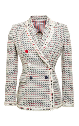 Db nipped waist in light grey graphic weave tweed jacquard by THOM BROWNE Now Available on Moda Operandi