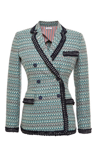 Db nipped waist short coat in light green melange weave tweed jacquard by THOM BROWNE for Preorder on Moda Operandi