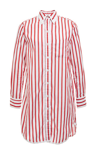 Classic thigh length shirt dress in white with red stripes by THOM BROWNE for Preorder on Moda Operandi