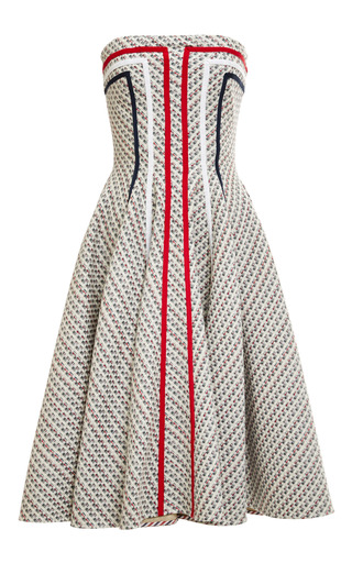 Strapless flared front paneled dress in light grey by THOM BROWNE for Preorder on Moda Operandi