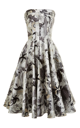 Strapless flared front paneled dress in grey jungle floral by THOM BROWNE for Preorder on Moda Operandi