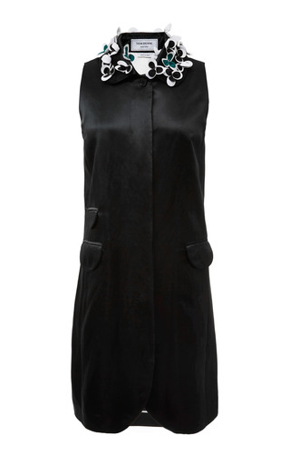 Sleeveless ball collar smock dress in dark green satin linen by THOM BROWNE for Preorder on Moda Operandi