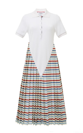 White deep v polo dress with pleated skirt in bwr stripe by THOM BROWNE for Preorder on Moda Operandi