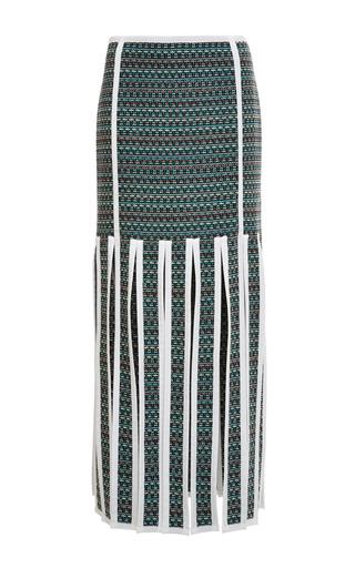 Trouser length ribbon skirt in dark green melange weave tweed by THOM BROWNE for Preorder on Moda Operandi