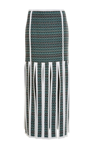 Trouser length ribbon skirt in dark green melange weave tweed by THOM BROWNE for Preorder on Moda Operandi