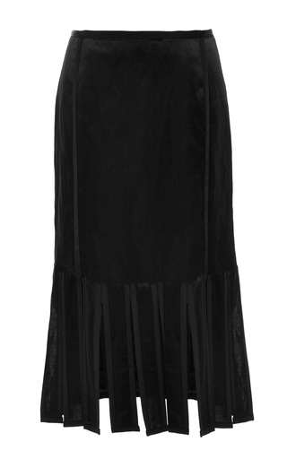 Knee length ribbon skirt in dark green satin linen with black gg tipping by THOM BROWNE for Preorder on Moda Operandi