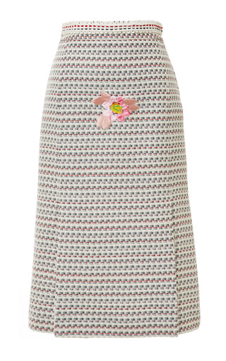 Four vent pencil skirt in light grey graphic weave tweed jacquard by THOM BROWNE for Preorder on Moda Operandi