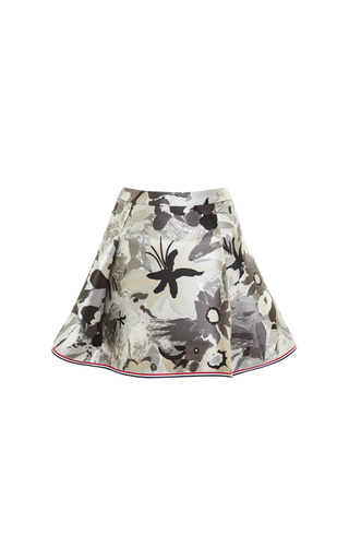 Four pleat mini skirt in tonal grey jungle floral scuba jacquard by THOM BROWNE for Preorder on Moda Operandi