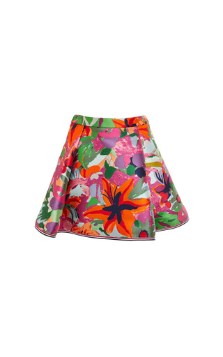 Four pleat mini skirt in multi color printed jungle floral voile by THOM BROWNE for Preorder on Moda Operandi