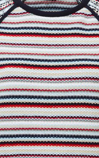Thom Browne - Seed Stitch Short Sleeve Raglan Crewneck T-Shirt In Rwb Stripe