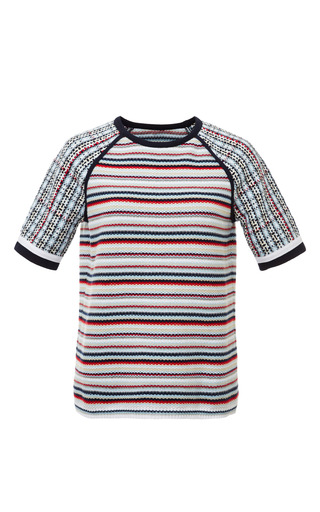 Seed stitch short sleeve raglan crewneck t-shirt in rwb stripe by THOM BROWNE for Preorder on Moda Operandi