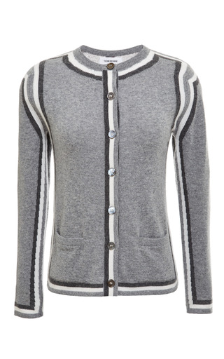 Classic crewneck slim fit cardigan in light grey cashmere by THOM BROWNE Preorder Now on Moda Operandi