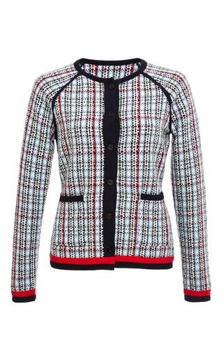 Woven geometric tweed plaid raglan sleeve crewneck cardigan by THOM BROWNE for Preorder on Moda Operandi