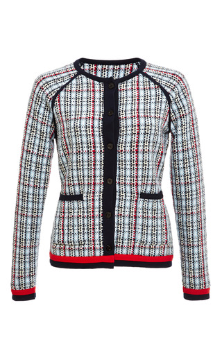 Woven geometric tweed plaid raglan sleeve crewneck cardigan by THOM BROWNE for Preorder on Moda Operandi