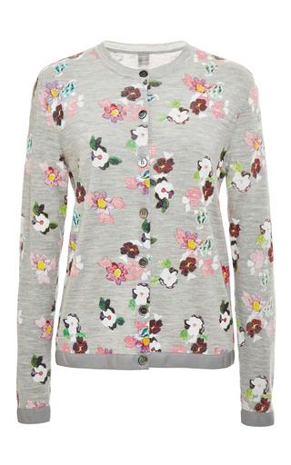 Floral print crewneck cardigan in pale grey by THOM BROWNE Preorder Now on Moda Operandi