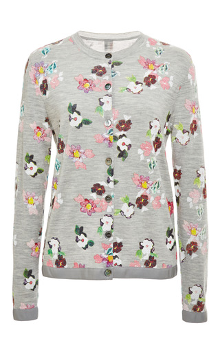Floral print crewneck cardigan in pale grey by THOM BROWNE Now Available on Moda Operandi