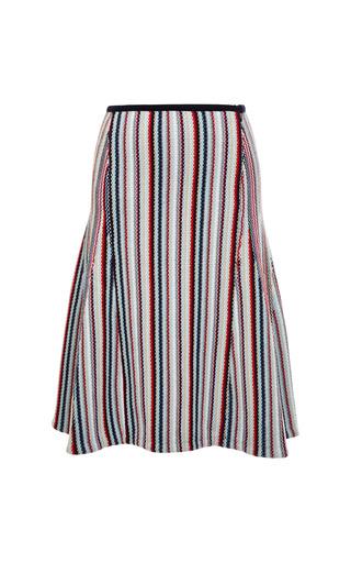 Seed stitch flared skirt in rwb stripe cotton by THOM BROWNE for Preorder on Moda Operandi