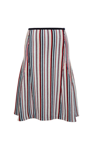 Seed stitch flared skirt in rwb stripe cotton by THOM BROWNE for Preorder on Moda Operandi