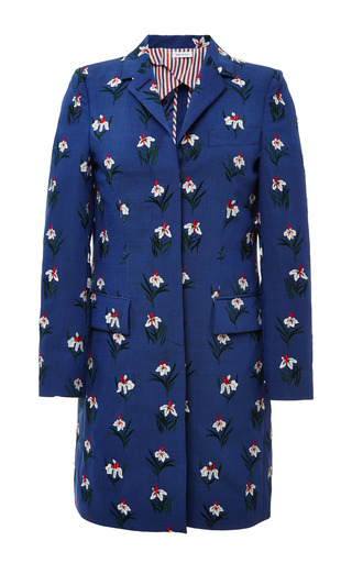 Chesterfield overcoat in med blue mohair with white tulip super pose by THOM BROWNE for Preorder on Moda Operandi