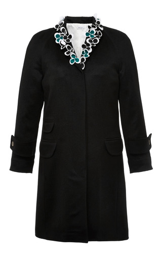 High button chesterfield coat in black cashmere with floral embriodery by THOM BROWNE for Preorder on Moda Operandi