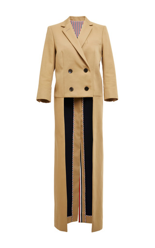 Back drop overcoat in khaki mackintosh by THOM BROWNE for Preorder on Moda Operandi