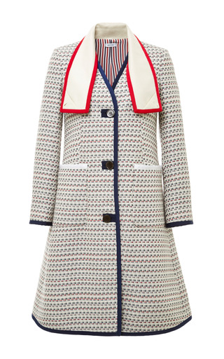 A line scarf collar overcoat light grey graphic weave tweed by THOM BROWNE for Preorder on Moda Operandi