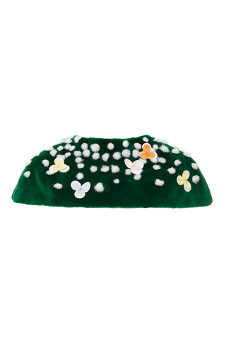 Cropped stole in green sheared plucked mink with white mink tuffs by THOM BROWNE for Preorder on Moda Operandi