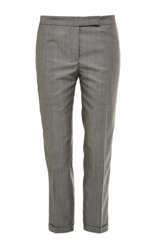 Low rise skinny trouser in light grey kid mohair by THOM BROWNE for Preorder on Moda Operandi