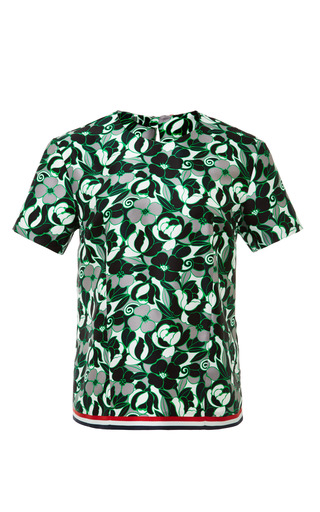 T-shirt in green and white floral swirl medium weight silk twill by THOM BROWNE for Preorder on Moda Operandi