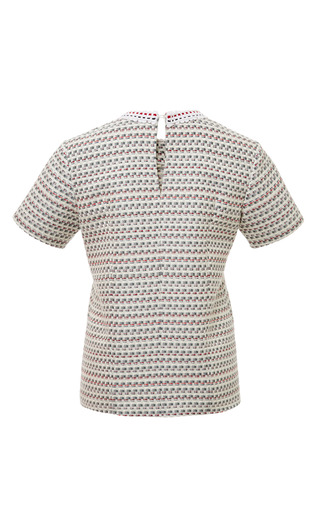 T-Shirt In Light Grey Graphic Weave Tweed Jacquard With Embroidery by Thom Browne for Preorder on Moda Operandi