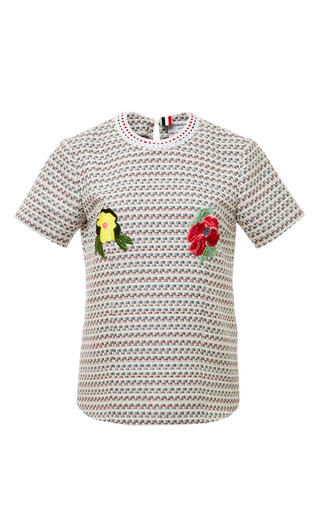 T Shirt In Light Grey Graphic Weave Tweed Jacquard With Embroidery by THOM BROWNE for Preorder on Moda Operandi