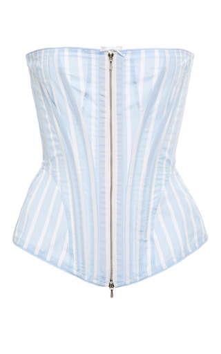 Thom Browne - Corset In Light Blue With White Stripe Poplin