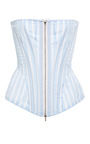 Corset In Light Blue With White Stripe Poplin by Thom Browne for Preorder on Moda Operandi