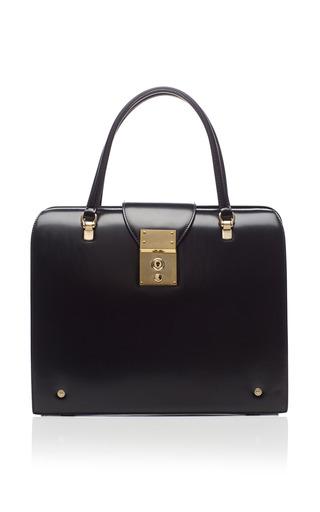 Mrs. thom bag in black calf by THOM BROWNE for Preorder on Moda Operandi