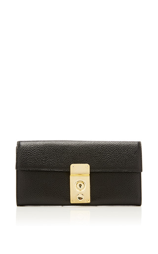 Mrs. thom wallet in black nettuno pebble leather by THOM BROWNE for Preorder on Moda Operandi