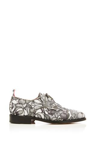 Toe cap oxford shoe in tonal grey floral swirl jacquard by THOM BROWNE Preorder Now on Moda Operandi
