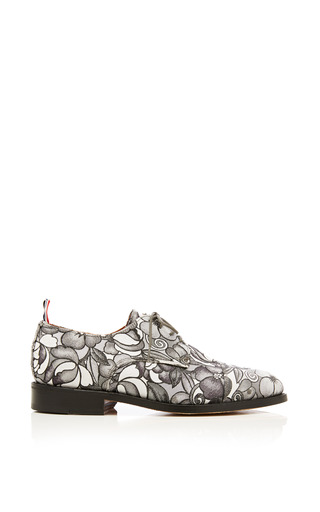 Toe cap oxford shoe in tonal grey floral swirl jacquard by THOM BROWNE Now Available on Moda Operandi