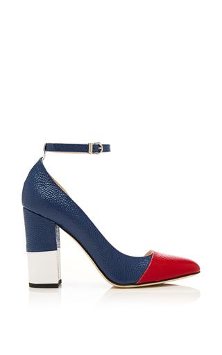 Asymmetric cut away cap toe block heel sandal in patent pebble grain by THOM BROWNE for Preorder on Moda Operandi
