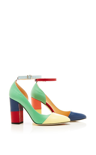 Asymmetric cut away cap toe block heel sandal in patent pebble grain by THOM BROWNE Preorder Now on Moda Operandi