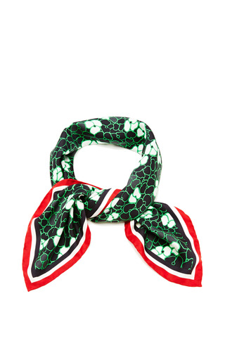 Little pansy flower print scarf in green with rwb border by THOM BROWNE for Preorder on Moda Operandi