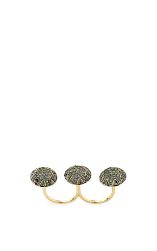 Gem Knuckle Ring In Green by Ileana Makri for Preorder on Moda Operandi