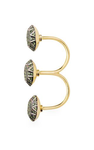 Gem Knuckle Ring In Green by Ileana Makri for Preorder on Moda Operandi