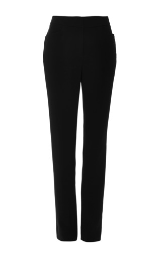 Noir stretch crepe cigarette pants by MONIQUE LHUILLIER Now Available on Moda Operandi
