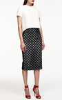 Monique Lhuillier - Monique Lhuillier Circle Lace Pencil Skirt With Silk Side Panels