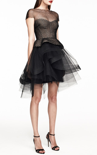 Cap Sleeve Peplum Cocktail Dress With Tiered Skirt by Monique Lhuillier for Preorder on Moda Operandi