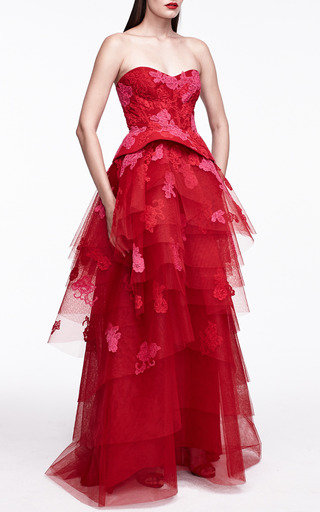 Monique Lhuillier - Lace Embroidered Strapless Gown With Tiered Skirt