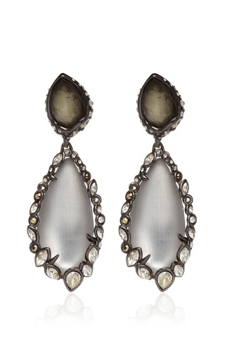 Alexis Bittar - Imperial Noir Large Crystal Lace Pyrite Earrings