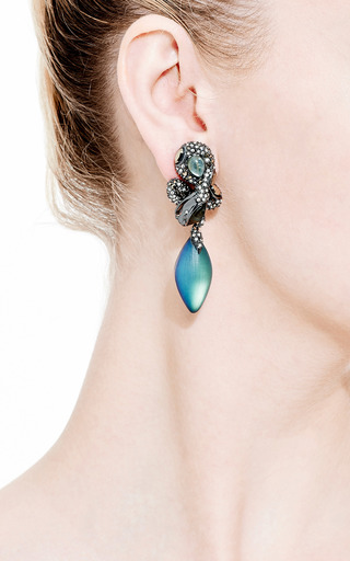 Imperial Noir Medium Crystal Lace Snake Earrings by Alexis Bittar for Preorder on Moda Operandi