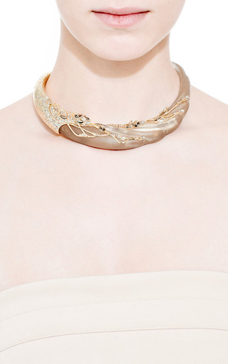 Imperial 10K Gold Crystal Embellished Swan Collar by Alexis Bittar for Preorder on Moda Operandi